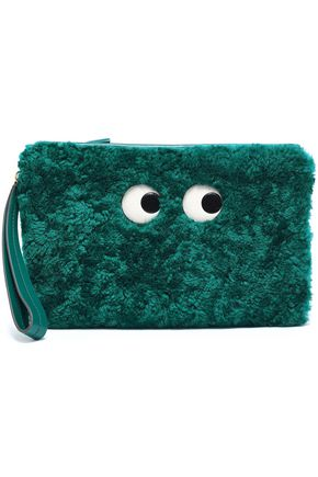 ANYA HINDMARCH Leather-trimmed shearling pouch