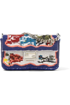 FENDI Sequined leather clutch
