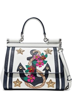 DOLCE & GABBANA Sicily embellished textured-leather shoulder bag