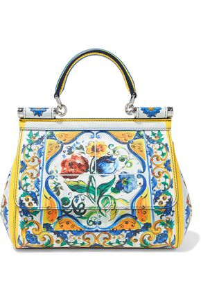 20872ca506c0 DOLCE   GABBANA WOMAN SICILY PRINTED TEXTURED-LEATHER SHOULDER BAG  MULTICOLOR