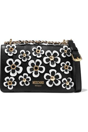 MOSCHINO Floral-appliquéd leather shoulder bag