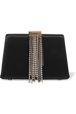 LANVIN Crystal-embellished satin clutch