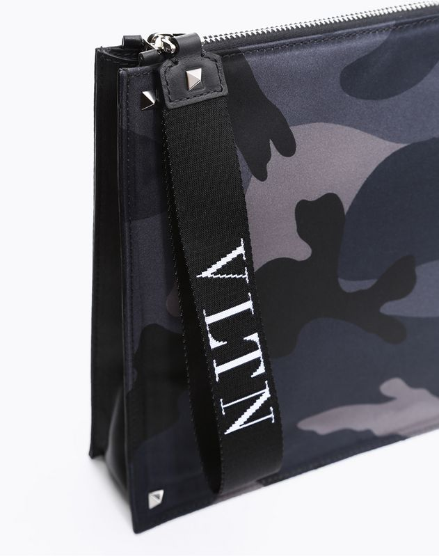 CAMOUFLAGE NYLON CLUTCH WITH VLTN RIBBON STRAP
