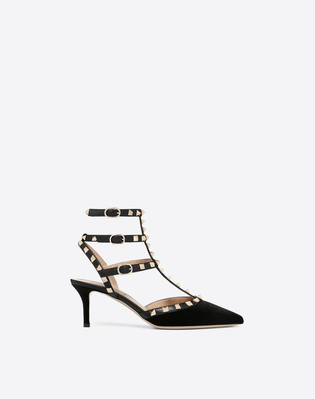 Velvet Rockstud Pump 65mm