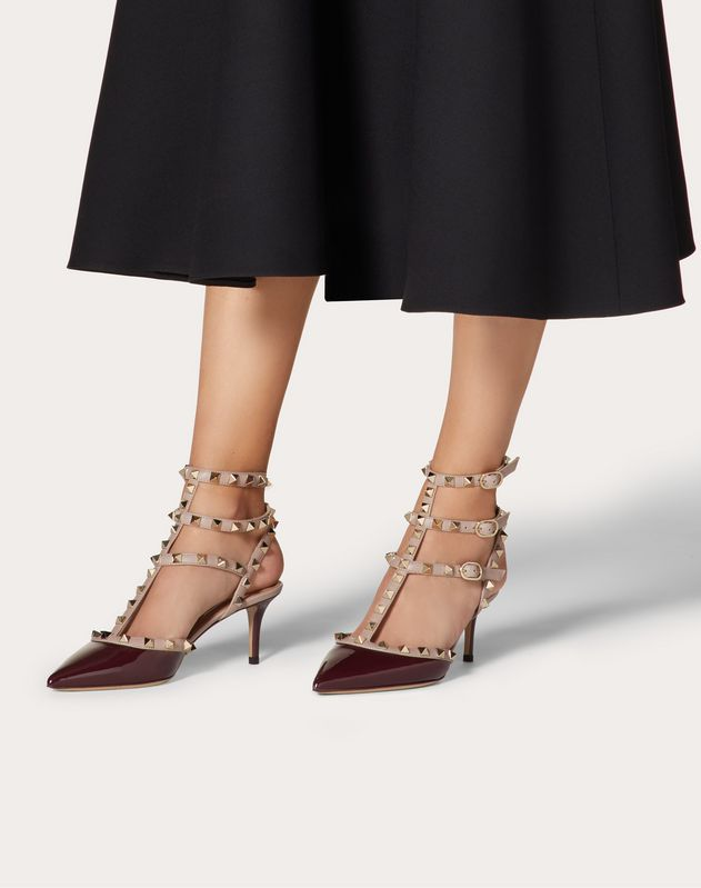 Rockstud patent ankle strap pump 65 mm