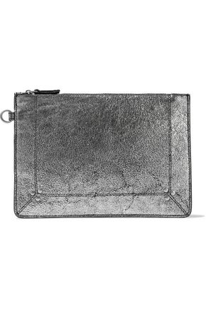 JÉRÔME DREYFUSS Metallic cracked-leather pouch