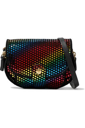 JÉRÔME DREYFUSS Disco Club leather-trimmed printed suede shoulder bag