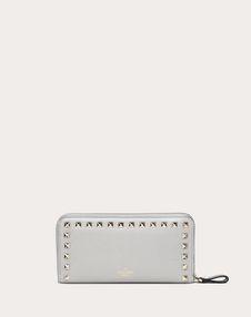 Rockstud Grainy Calfskin Zipped Wallet