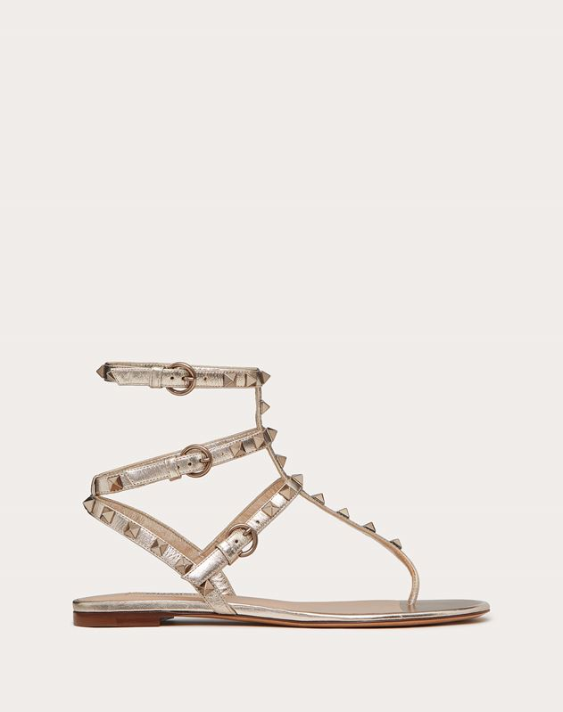 Metallic Rockstud Flat Thong Sandals