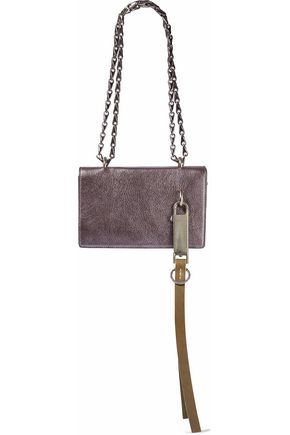 RICK OWENS Metallic cracked-leather shoulder bag