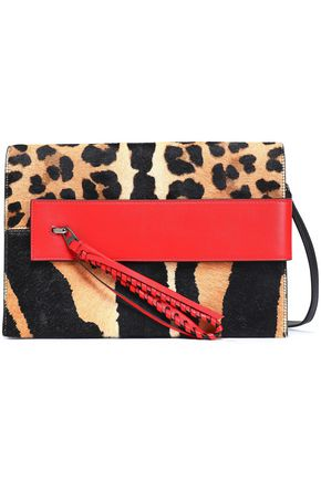 ELENA GHISELLINI Paneled leopard-print calf hair and leather shoulder bag