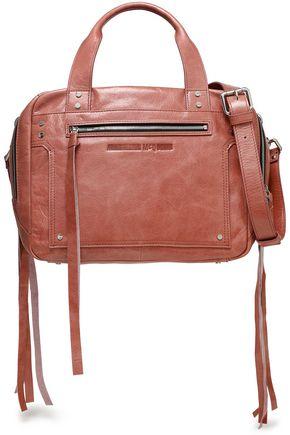 McQ Alexander McQueen Fringe-trimmed crinkled leather shoulder bag