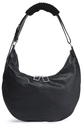 ACNE STUDIOS Shearling-trimmed leather shoulder bag