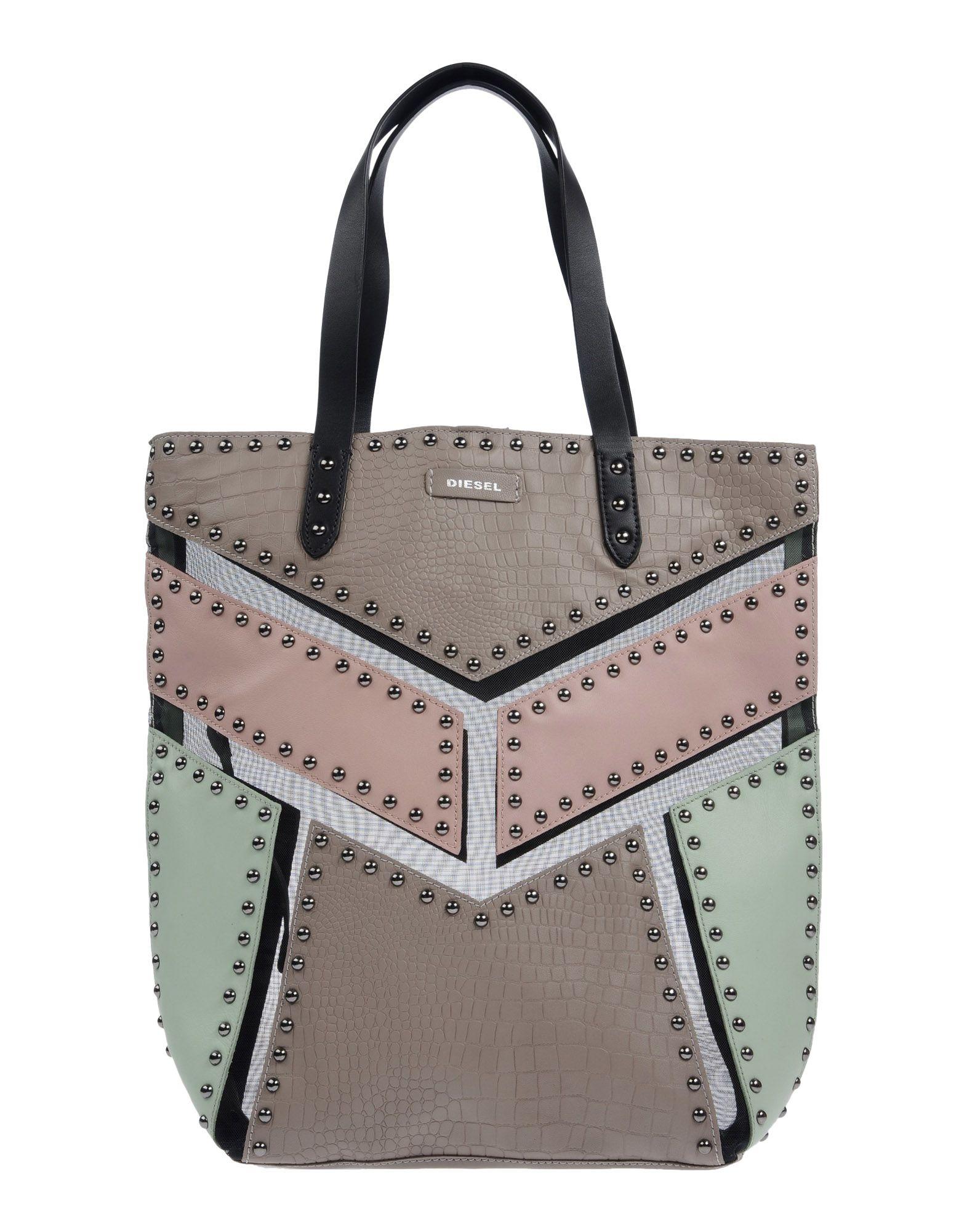 《送料無料》DIESEL レディース ハンドバッグ ドーブグレー 革 / 紡績繊維