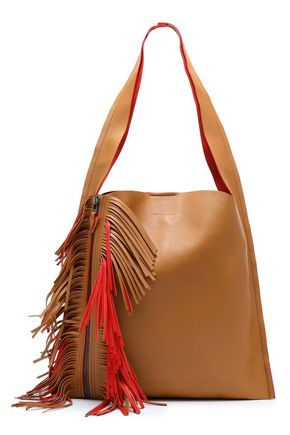 ELENA GHISELLINI Fringe-trimmed leather shoulder bag