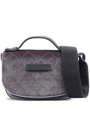 BRUNELLO CUCINELLI Leather-trimmed quilted velvet shoulder bag