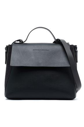 BRUNELLO CUCINELLI Bead-embellished woven-trimmed leather shoulder bag