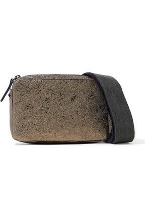 BRUNELLO CUCINELLI Embellished metallic cracked-leather shoulder bag