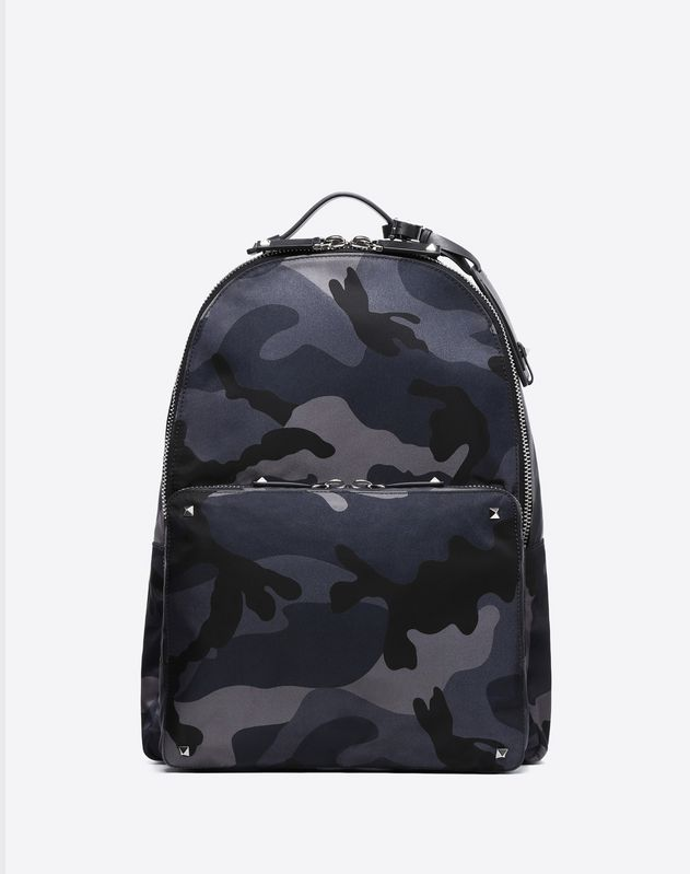 CAMOUFLAGE NYLON BACKPACK WITH VLTN RIBBON STRAPS