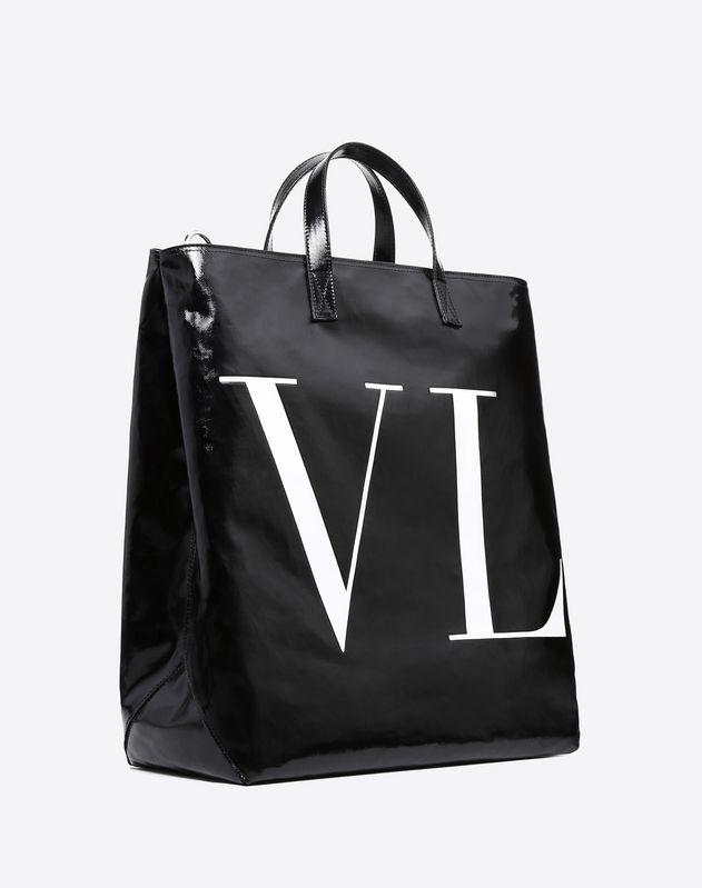 VLTN SHINY CANVAS SHOPPING BAG