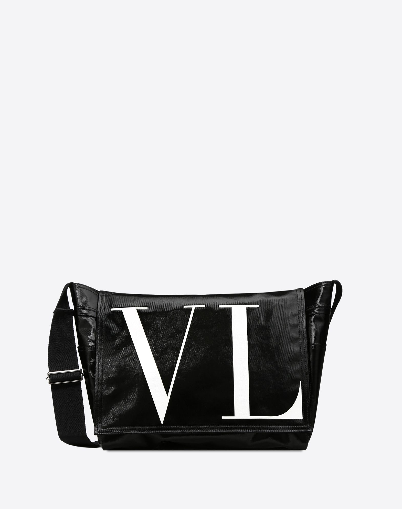 VLTN MEDIUM SHINY CANVAS MESSENGER BAG