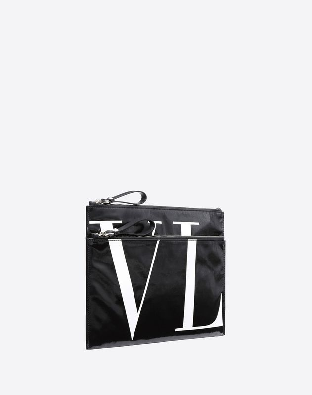 VLTN SHINY CANVAS CLUTCH