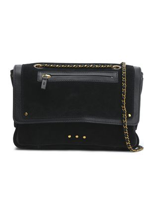 JÉRÔME DREYFUSS Leather-trimmed suede shoulder bag