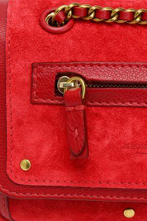 JÉRÔME DREYFUSS Studded leather-trimmed suede shoulder bag
