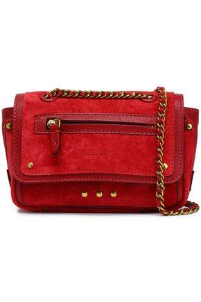 JÉRÔME DREYFUSS Studded leather-trimmed suede shoulder bag