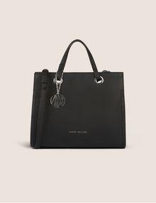 ARMANI EXCHANGE DENIM EFFECT SATCHEL WITH LOGO CHARM Satchel bag Woman f