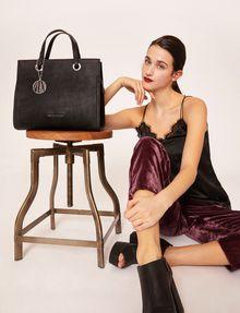 ARMANI EXCHANGE DENIM EFFECT SATCHEL WITH LOGO CHARM Satchel bag Woman r