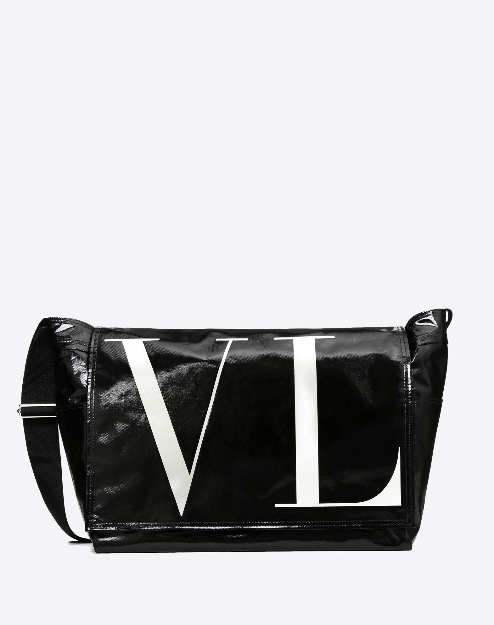 VLTN LARGE SHINY CANVAS MESSENGER BAG