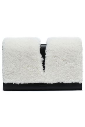 JIL SANDER Shearling and leather clutch