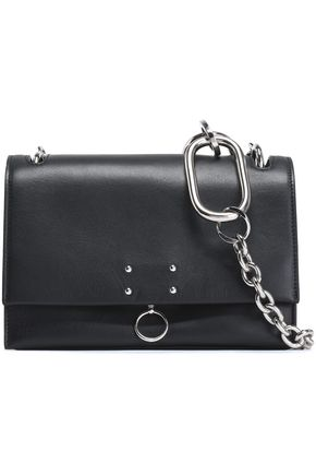 JIL SANDER Chain-trimmed leather shoulder bag