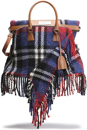 MAISON MARGIELA Fringed leather-trimmed checked tweed tote