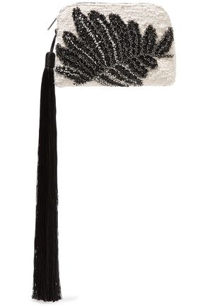 THE ROW Tasseled bead-embellished cotton-blend bouclé clutch