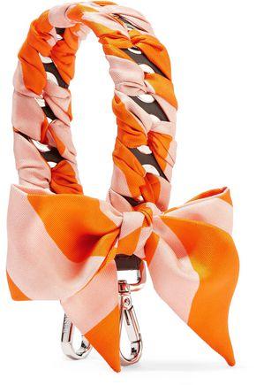 FENDI Printed silk twill-trimmed leather bag strap
