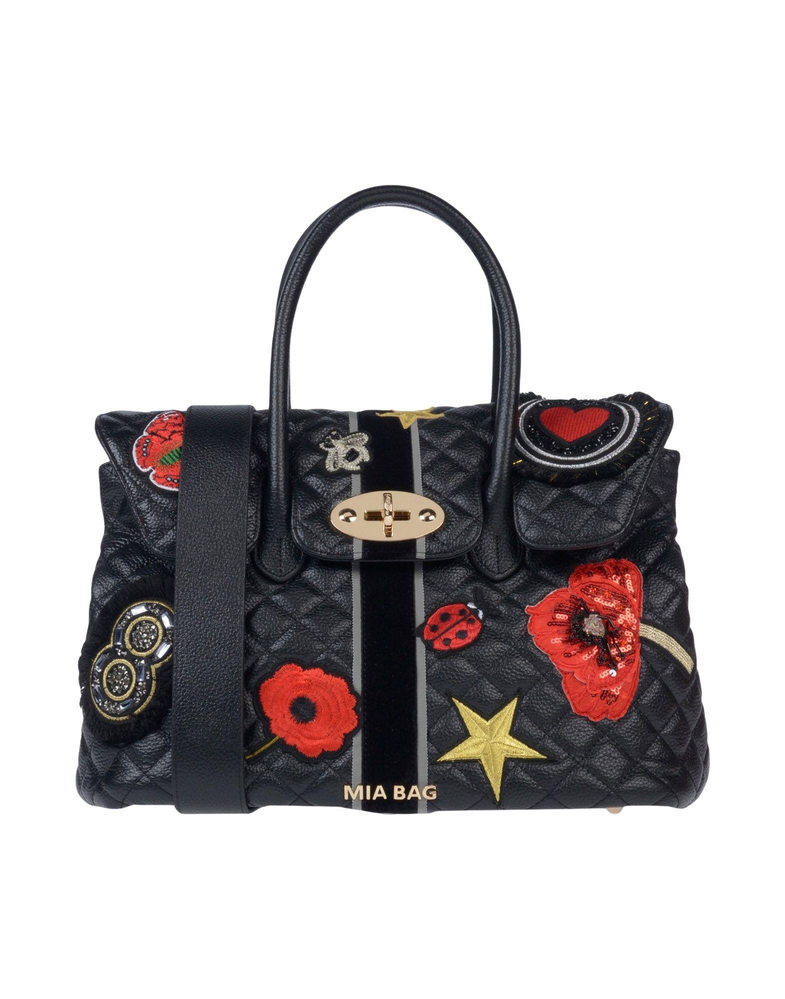 《送料無料》MIA BAG レディース ハンドバッグ ブラック 革 / 紡績繊維