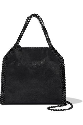 STELLA McCARTNEY Chain-trimmed coated faux suede shoulder bag