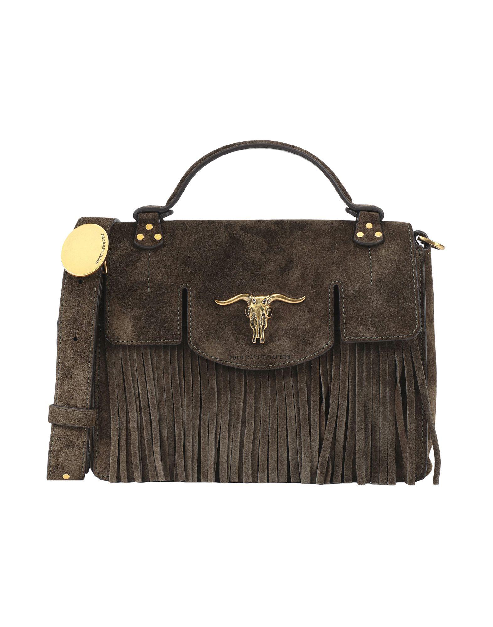 《送料無料》POLO RALPH LAUREN レディース ハンドバッグ ミリタリーグリーン 牛革(カーフ) 100% Fringe Small Suede Bag