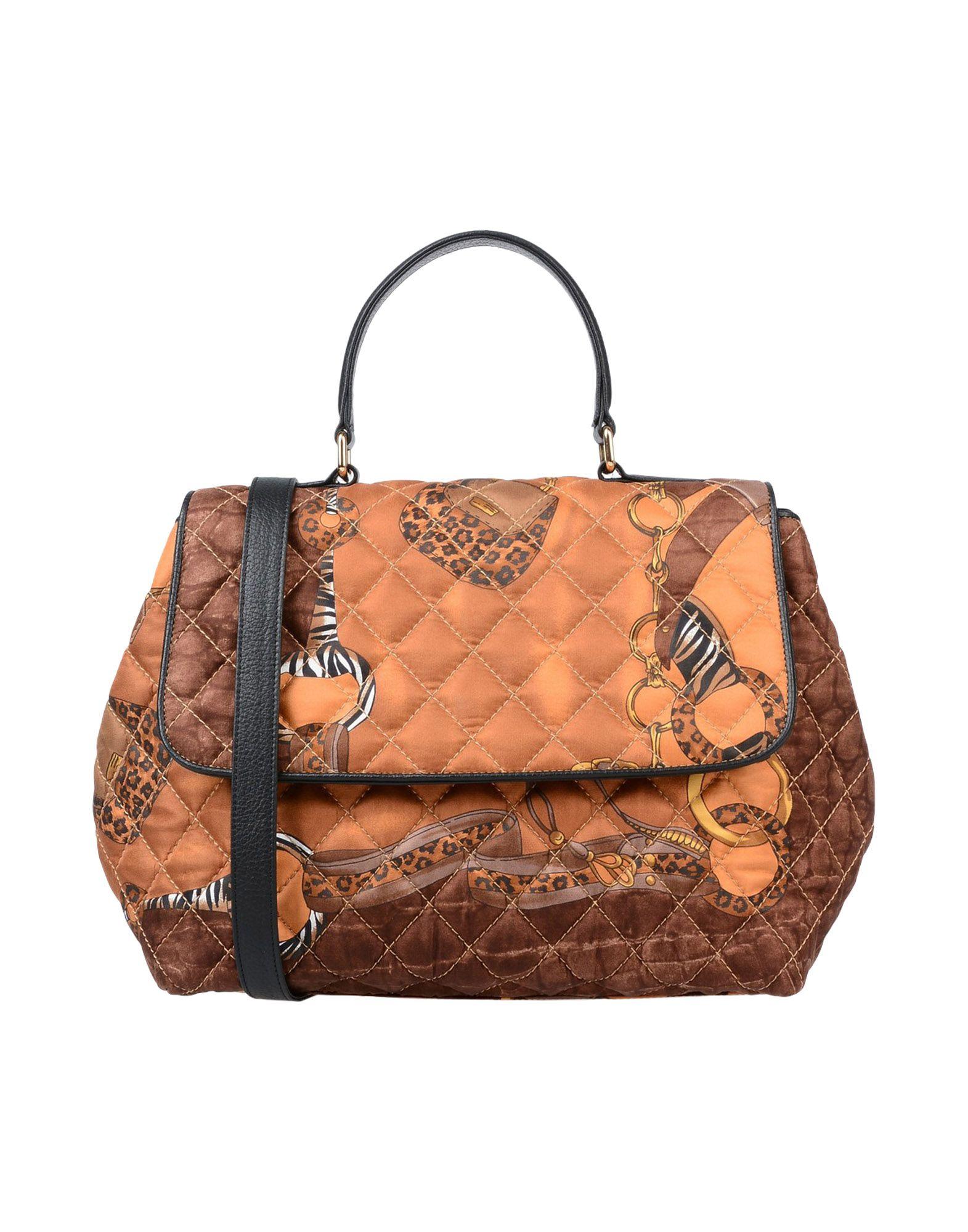 《送料無料》DONATELLA BRUNELLO レディース ハンドバッグ ブラウン 紡績繊維 / 革