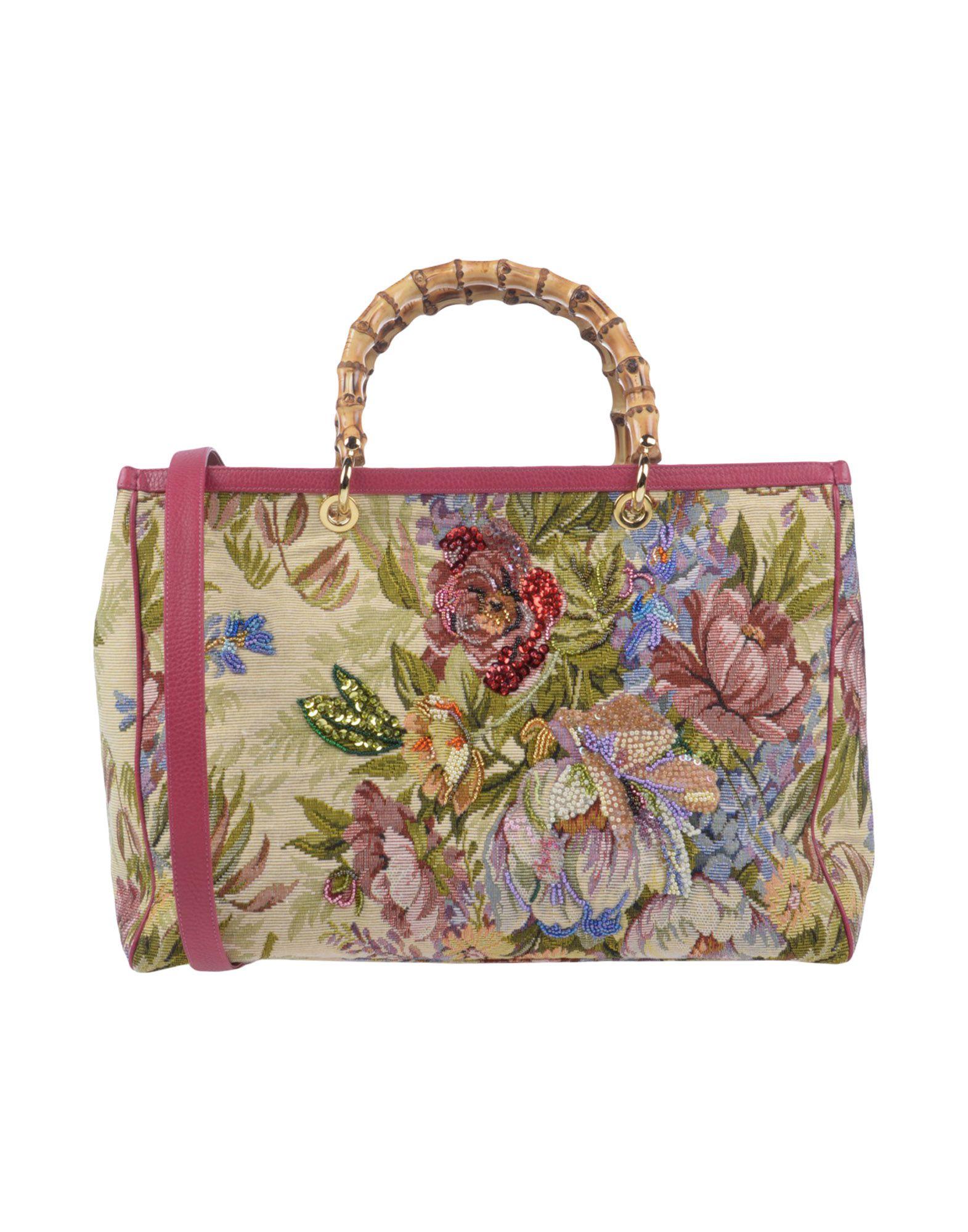 《送料無料》DONATELLA BRUNELLO レディース ハンドバッグ ベージュ 紡績繊維 / 革