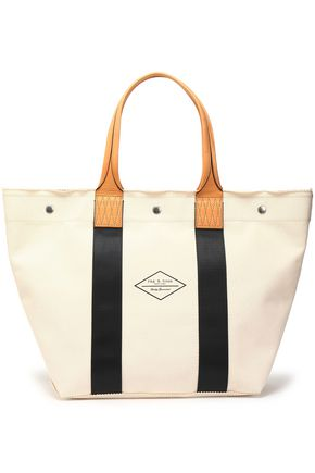 RAG & BONE Leather-trimmed cotton-canvas tote