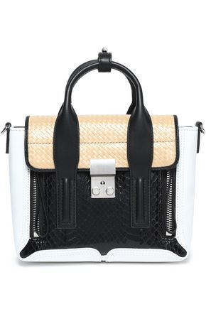 3.1 PHILLIP LIM Pashli elaphe, leather and woven shoulder bag