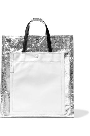3.1 PHILLIP LIM Accordion smooth and metallic cracked-leather tote