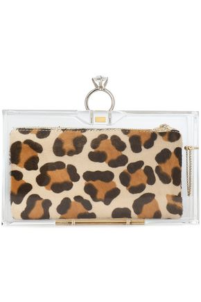 CHARLOTTE OLYMPIA Leopard-print calf hair and Perspex box clutch