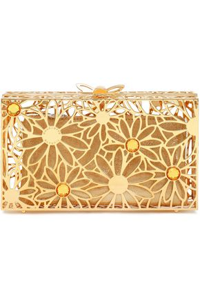 CHARLOTTE OLYMPIA Pandora In Bloom crystal-embellished gold-tone box clutch