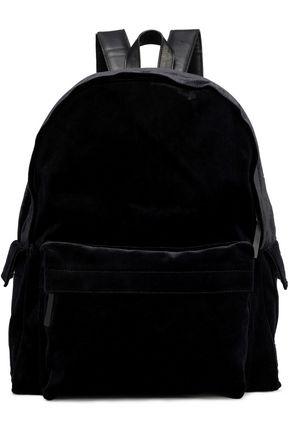 Leather-trimmed velvet backpack