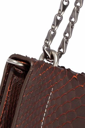 RICK OWENS Embellished snake-effect leather shoulder bag