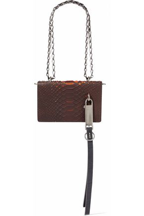 RICK OWENS Embellished snake-effect leather shoulder bag
